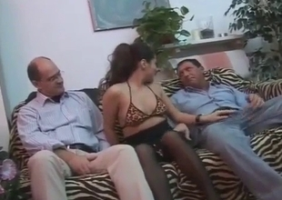 Sexy daughter pleases her daddy and his friend