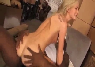 Miniature white slut rides BBC of her stepdad