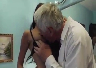 Busty daughter knows what her grandpa loves