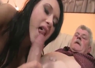 Grandpa gets sucked by mom and her daughter