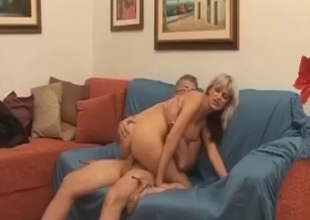 Big boobed blonde enjoys her naked gradpa