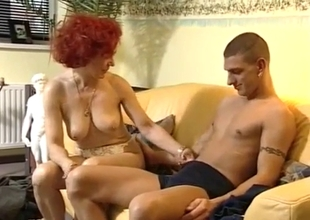 Busty redhead mom and her horny teen son