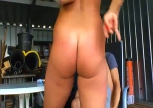 Flexy slutty auntie blows my dong outdoors