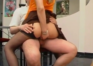 Sister in black stockings likes nasty incest