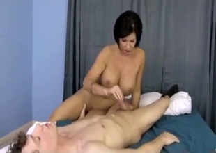 Busty stepmom blows my long dick in the morning